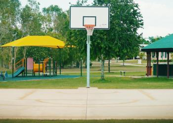 Outdoor basketball half-court